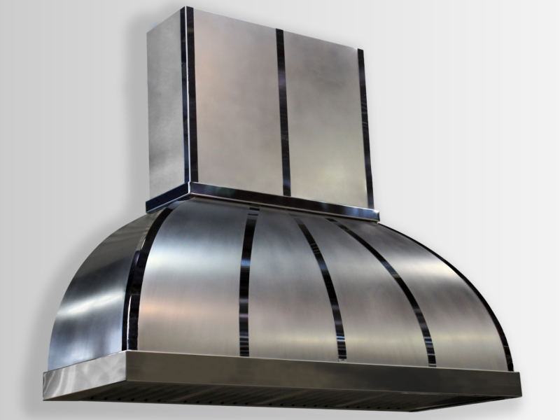 Wall mounted Arcata in stainless steel non-directional with black powdercoat banding