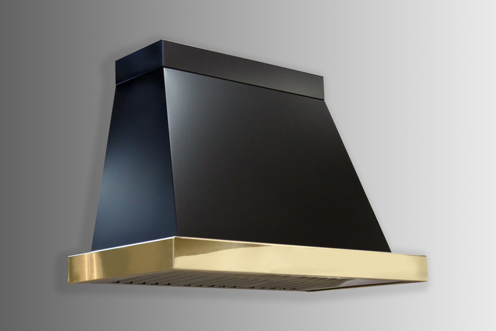 Wall mounted Chalet in black powdercoat with polished brass trim.