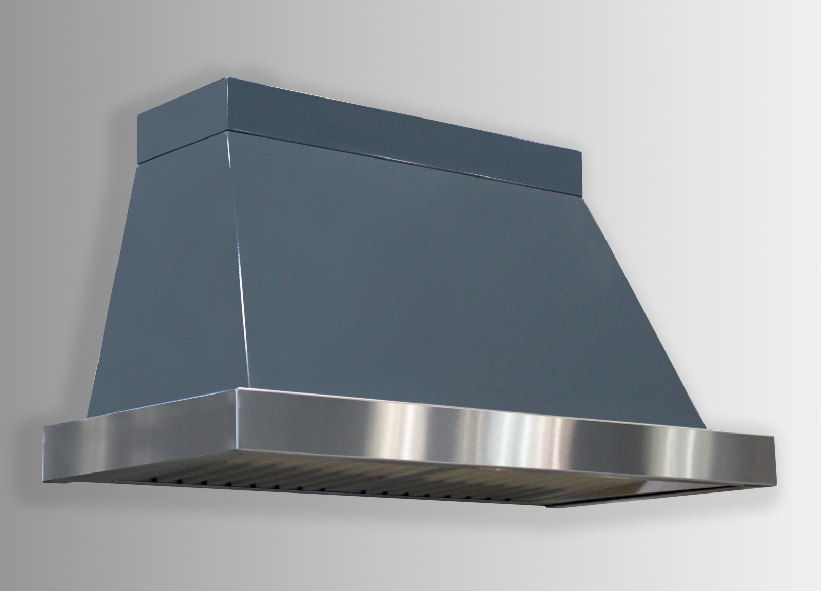 Wall mounted Chalet in gray powdercoat with stainless steel non-directional trim.