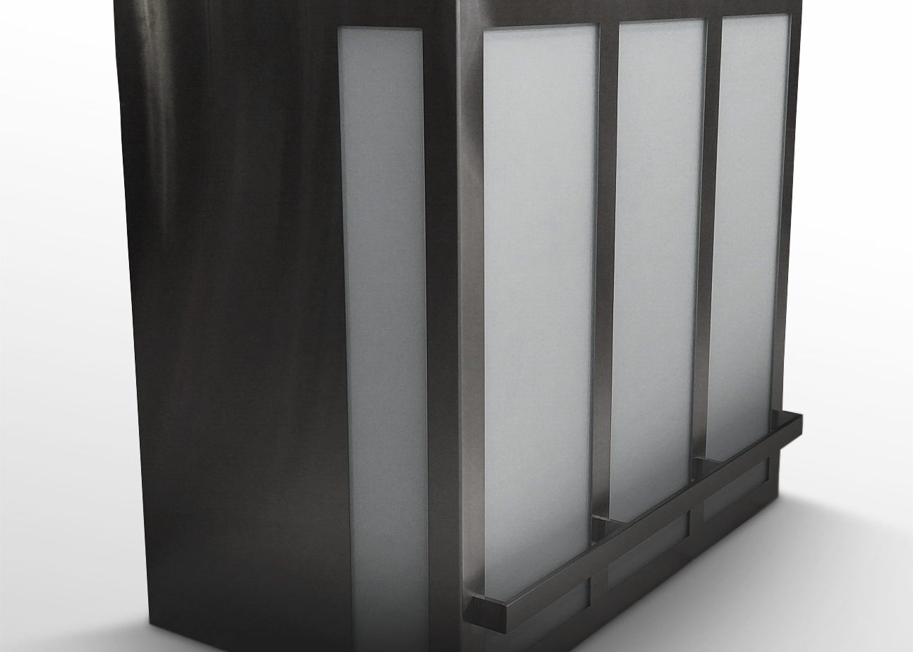 Wall mounted Cosmopolitan in brushed stainless and glass panels.