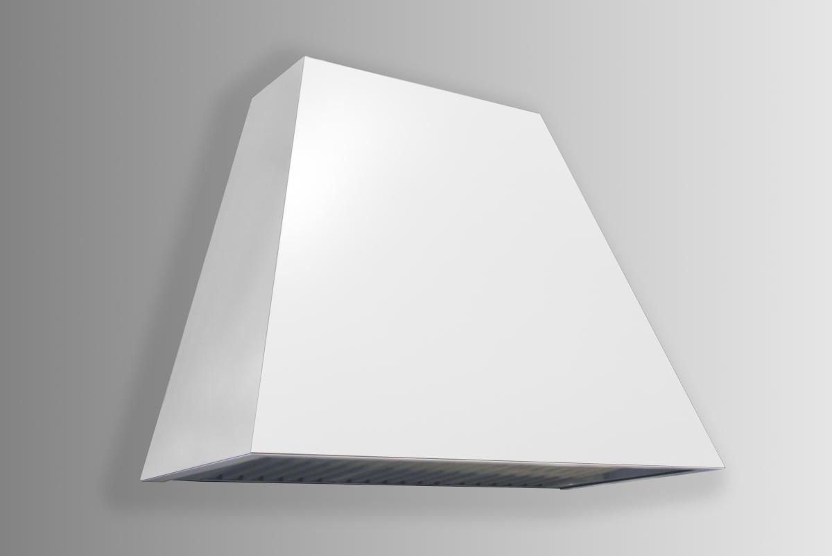 White powder coated keystone with flared sides.