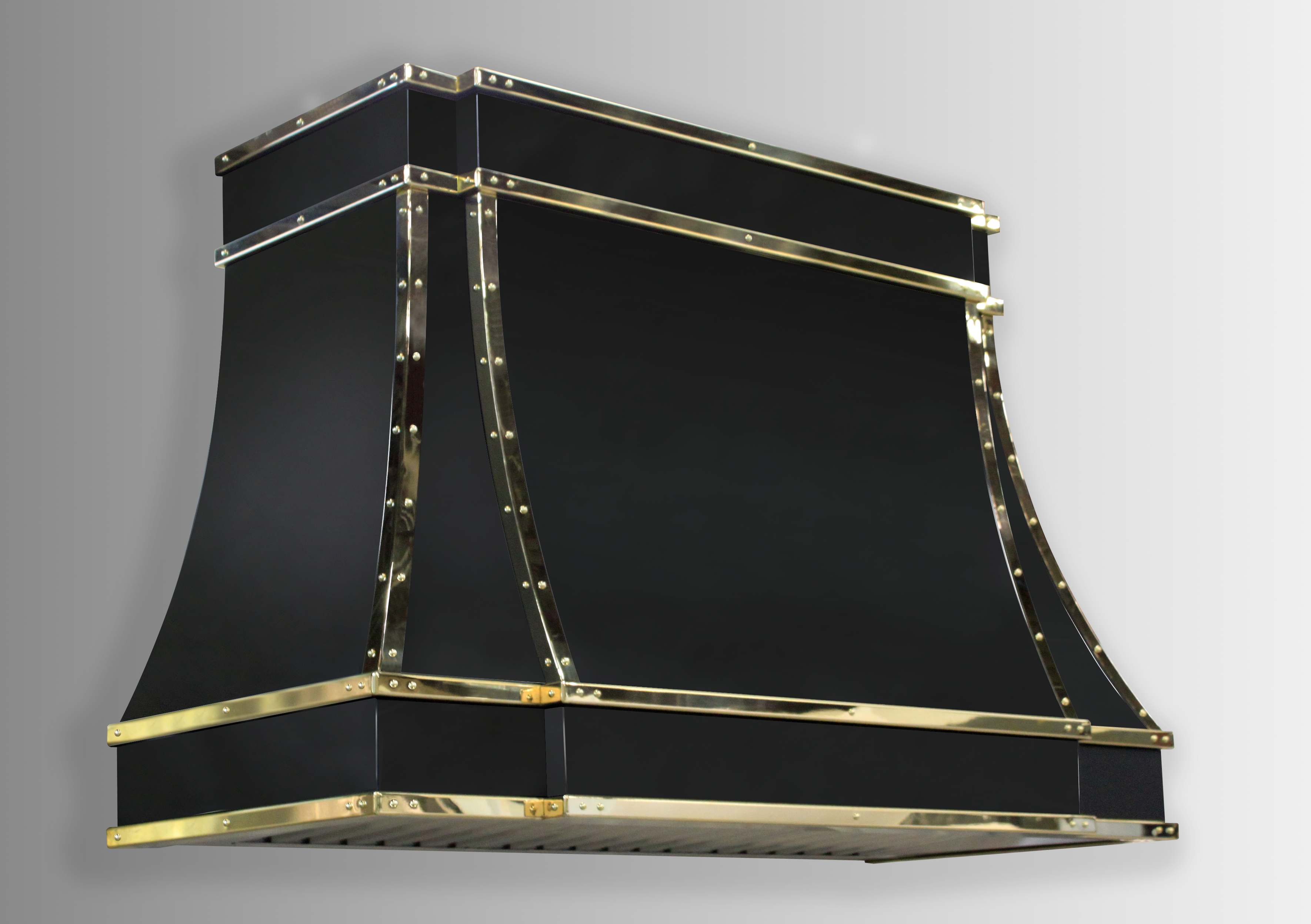 Wall mounted Sierra in black powdercoat with polished brass trim.