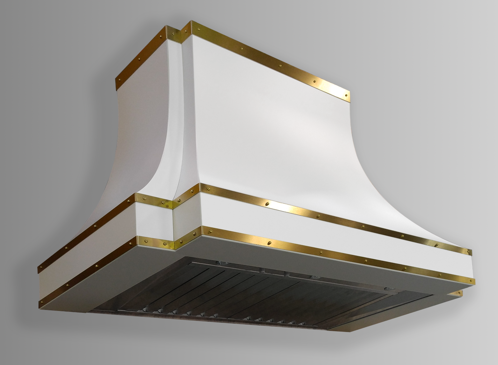 Wall mounted Sierra in white powdercoat with non-directional brass trim.