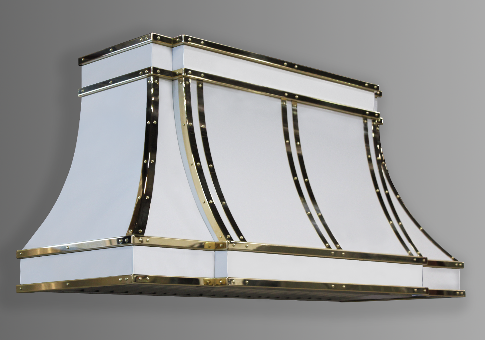 Wall mounted Sierra in white powdercoat with polished brass trim.