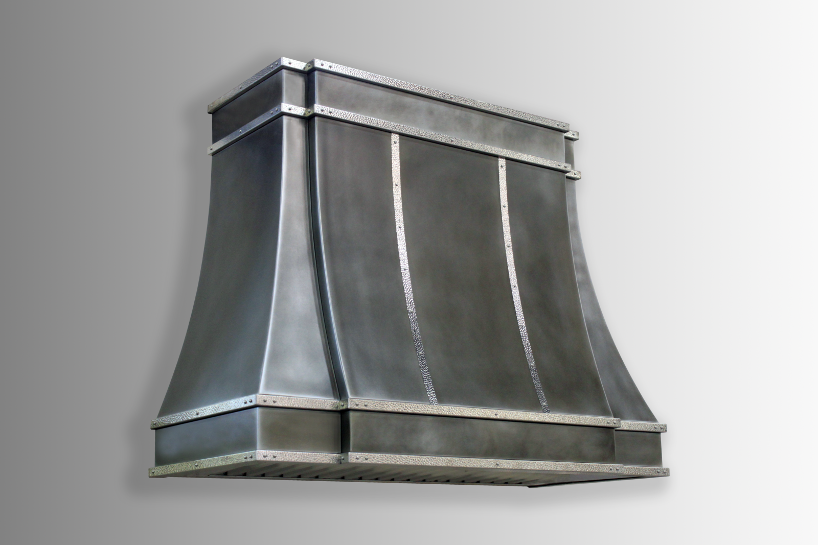 Wall mounted Sierra in antique stainless steel with stainless steel hammered trim.