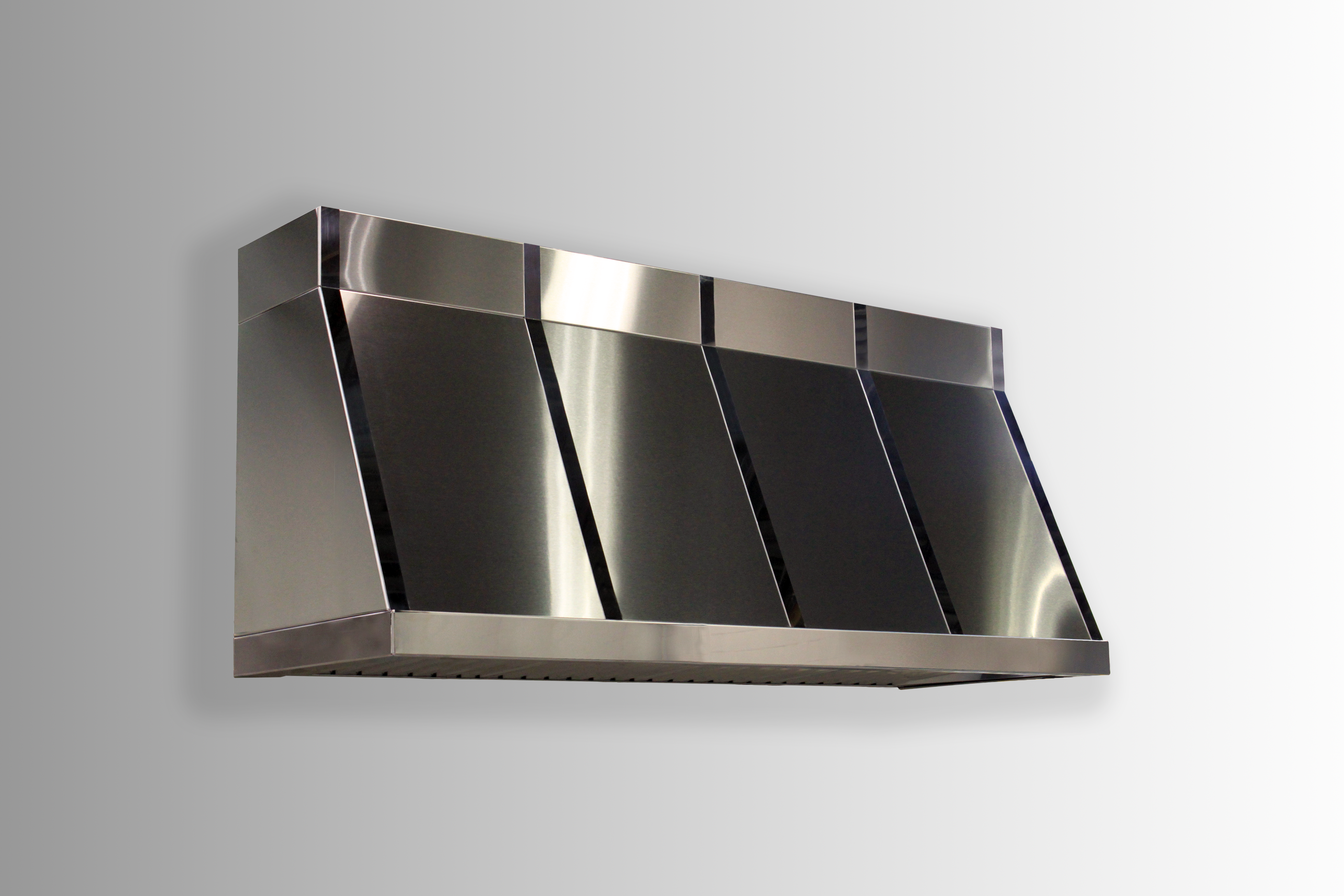 Wall mounted Summit in stainless steel non-directional with polished stainless steel banding.