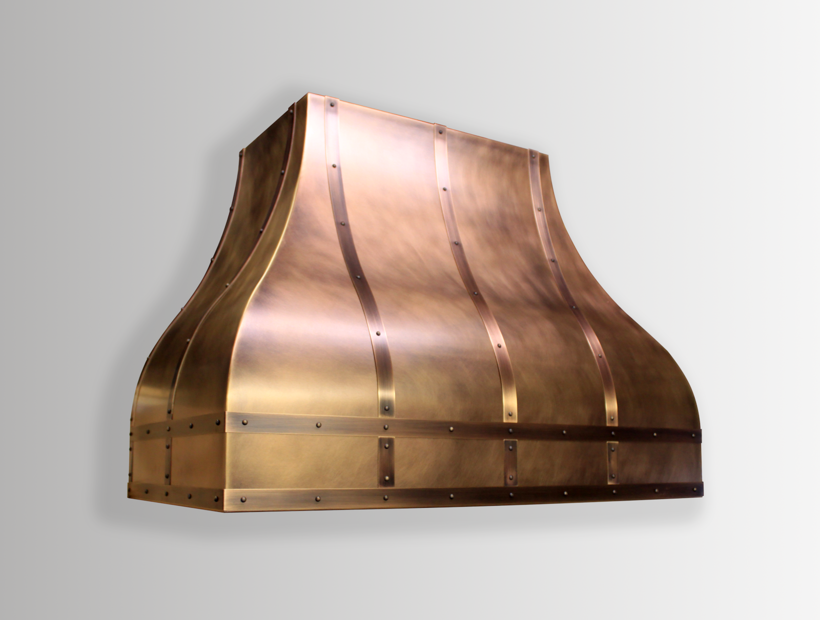 Wall mounted Venetian in antique copper body with brushed copper banding.