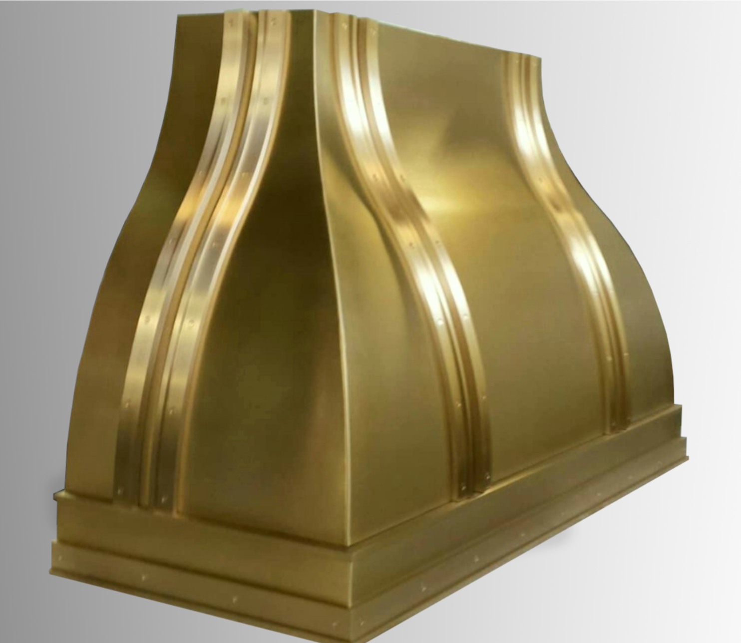 Wall mounted Venetian in brushed brass with polished brass bands.