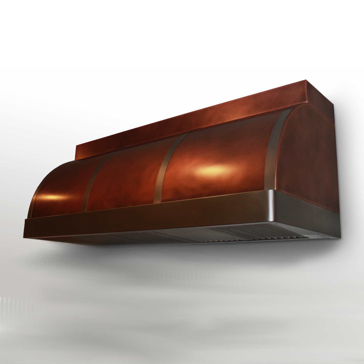 Wall mounted Canopy in antique copper with antique stainless steel bands and trim.