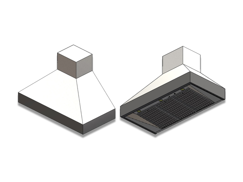 Architectural drawing of the Barbecue Professional wall mounted range hood. Please see below for wall and ceiling mounted specifications.