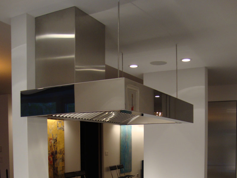 Ceiling mounted Cosmopolitan with a polished stainless steel body.