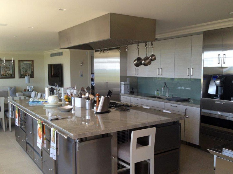 Ceiling mounted Cosmopolitan in brushed stainless steel body.