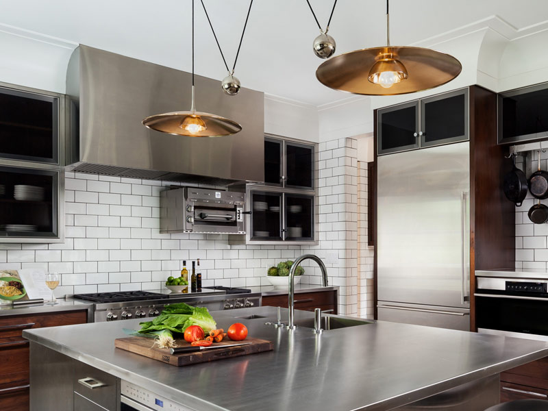 Wall mounted Cosmopolitan with brushed stainless steel body and brushed stainless steel countertop.
