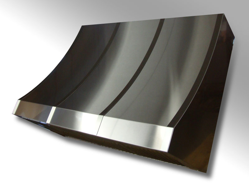 Wall mounted Crescent polished stainless steel body with brushed bands.