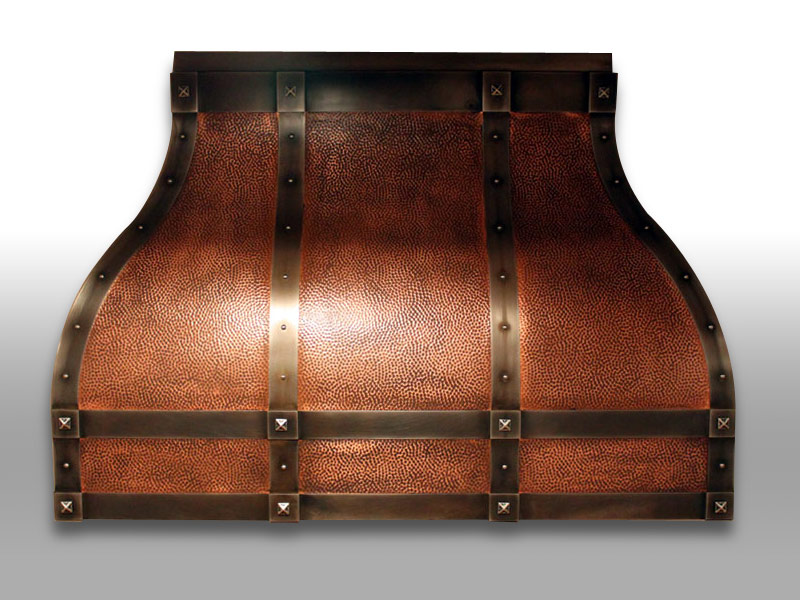 Wall mounted Venetian with an antique hammered copper body, dark antique copper bands, trims, rivets, and clavos.