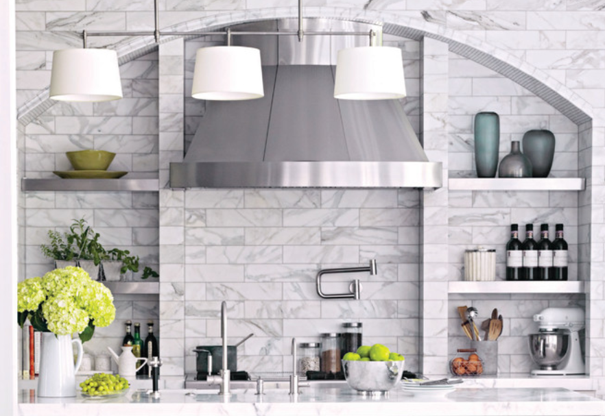 Stainless steel designer range hood with stainless steel shelves