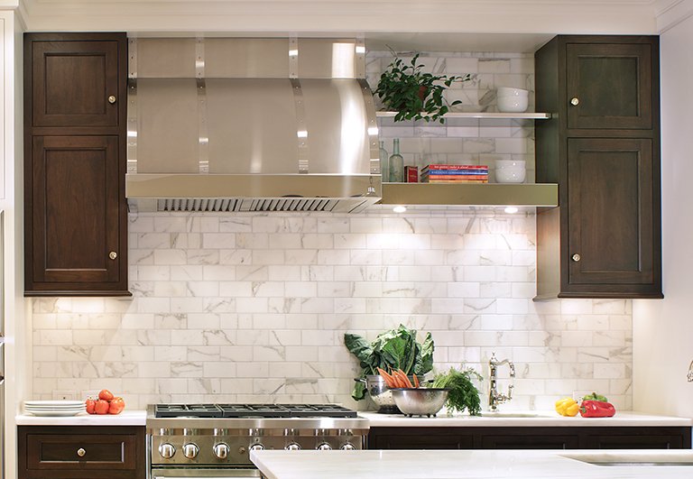 Stainless steel designer range hood with floating shelves