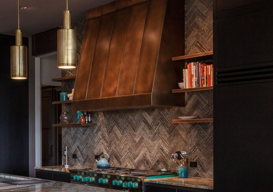Wall mounted Summit in antique copper body with standing seams and trim with antique copper shelving.