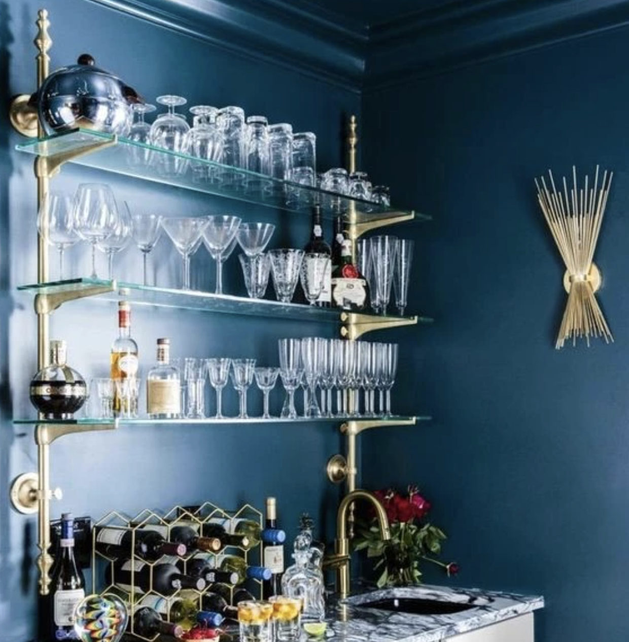 French bistro shelf in polished brass