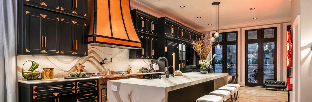 Copper designer range hood