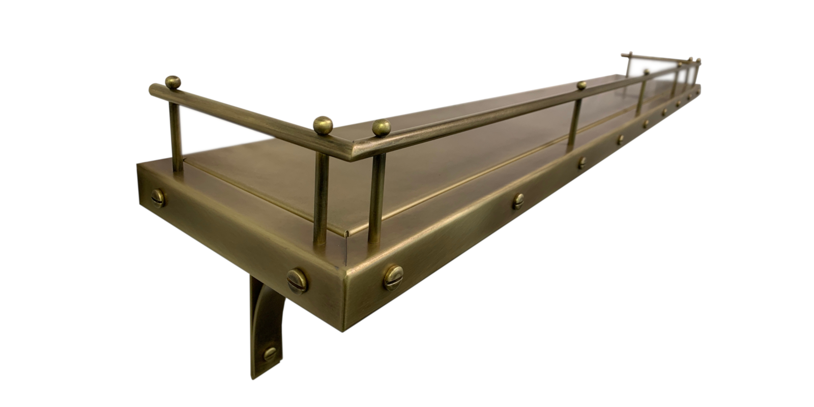 Antique brass floating shelf with custom pot rail, buttons and bracing.