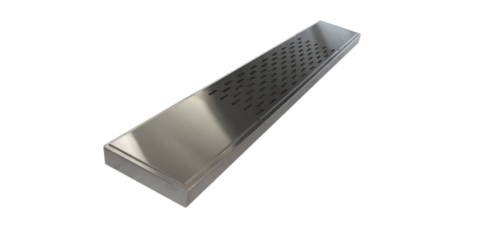 Stainless steel floating shelf with venting slots